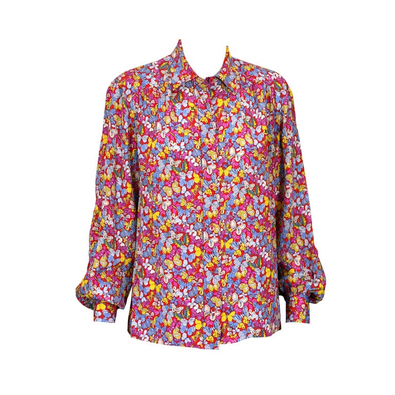 Celine Pink Butterfly Print Shirt For Sale