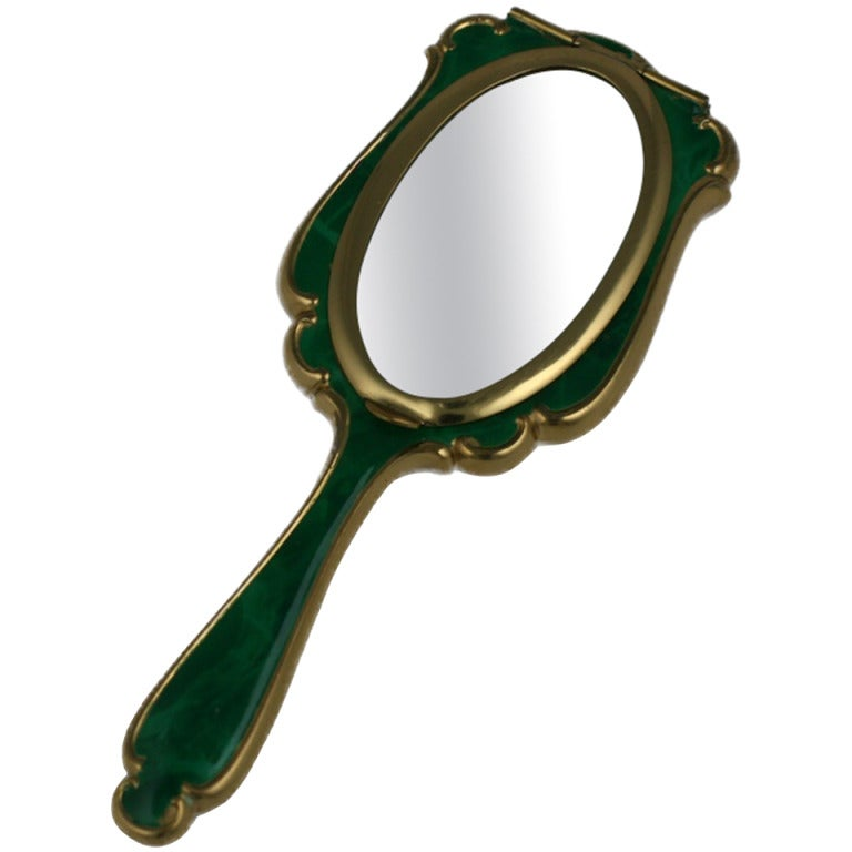 Faux Malachite Mirror Compact For Sale