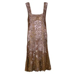 French 1920's Gilt Lace Dress
