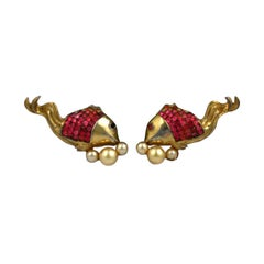 Art Deco Calvaire Invisibly Set Fish Earclips
