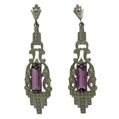 Art Deco Amythest Drop Earrings
