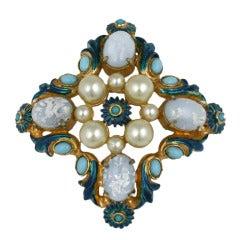 Hattie Carnegie Opal and Pearl Crest Brooch