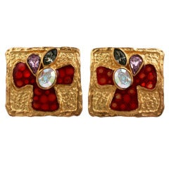 Christian LaCroix Enamel and Stone Earclips