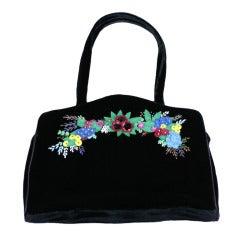 Lulu Guiness Felt  Embroidered Velvet Bag