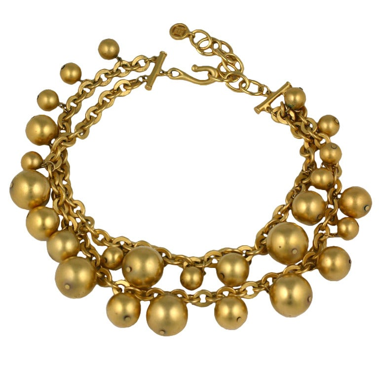 Givenchy Gilt Ball Charm Necklace At 1stdibs