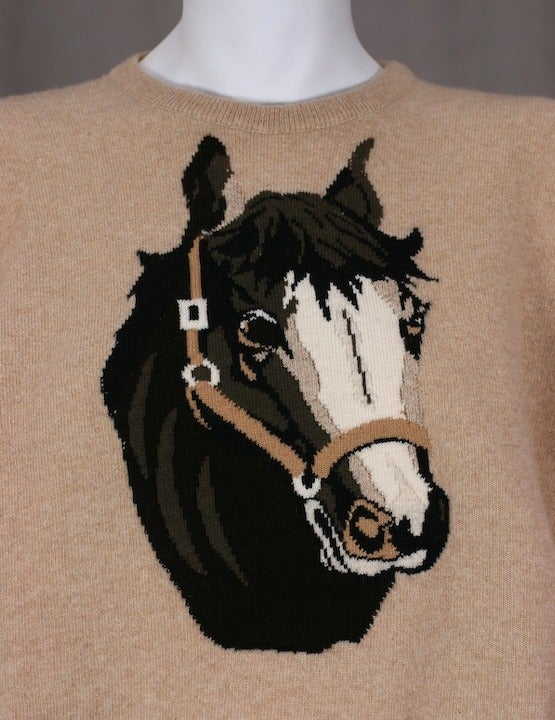 Charming Cashmere Intarsia Horse Sweater 2