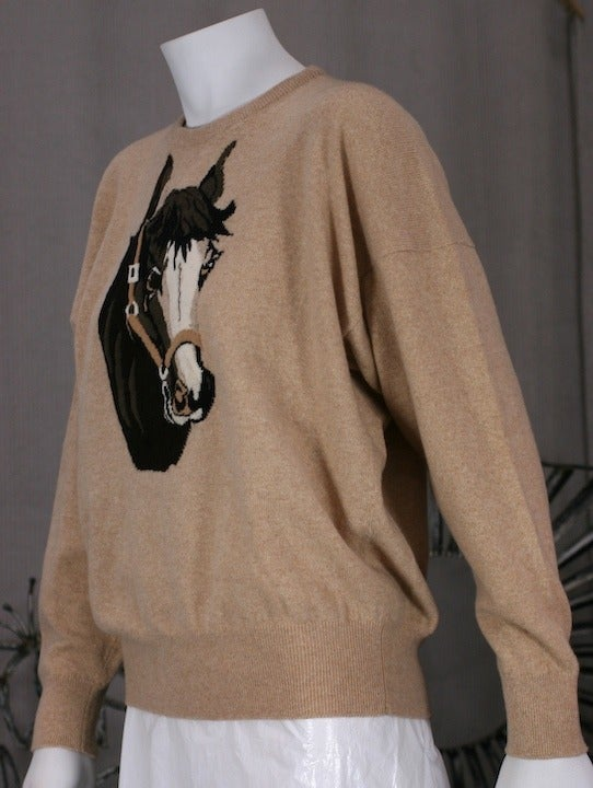 Charming Cashmere Intarsia Horse Sweater 3