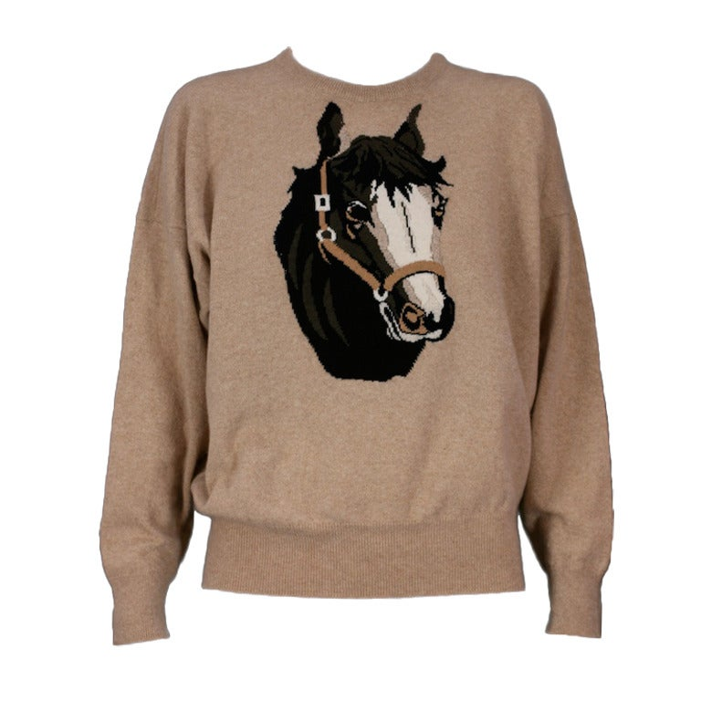 Charming Cashmere Intarsia Horse Sweater 1