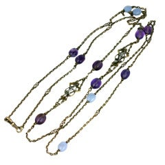French Figural Silver Long Chain with Gemstones