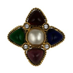 Chanel Multicolored Poured Glass Brooch