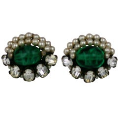 Rousselet Pearl and Emerald Pate de Verre Earclips
