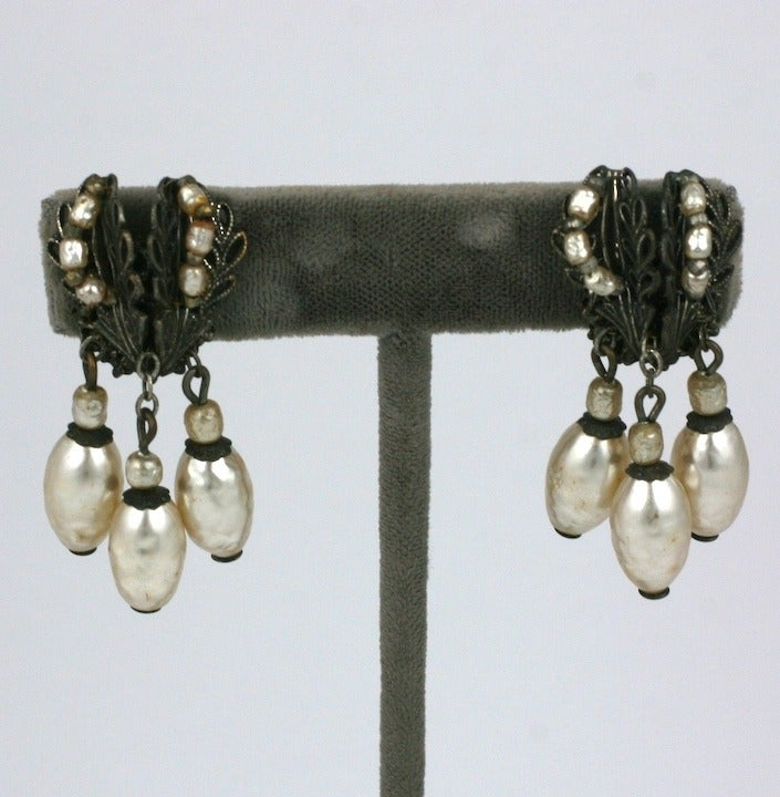 Miriam Haskell classic  silver gilt and pearl dangle earclips