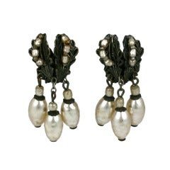 Miriam Haskell Silver Gilt and Pearl Dangle E