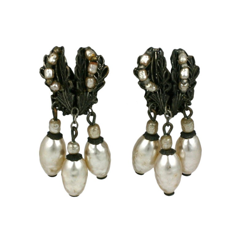 Miriam Haskell Silver Gilt and Pearl Dangle E For Sale