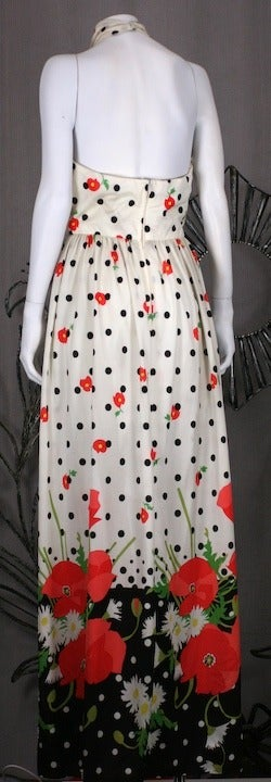 Gray Oscar de la Renta Poppy Print Halter For Sale