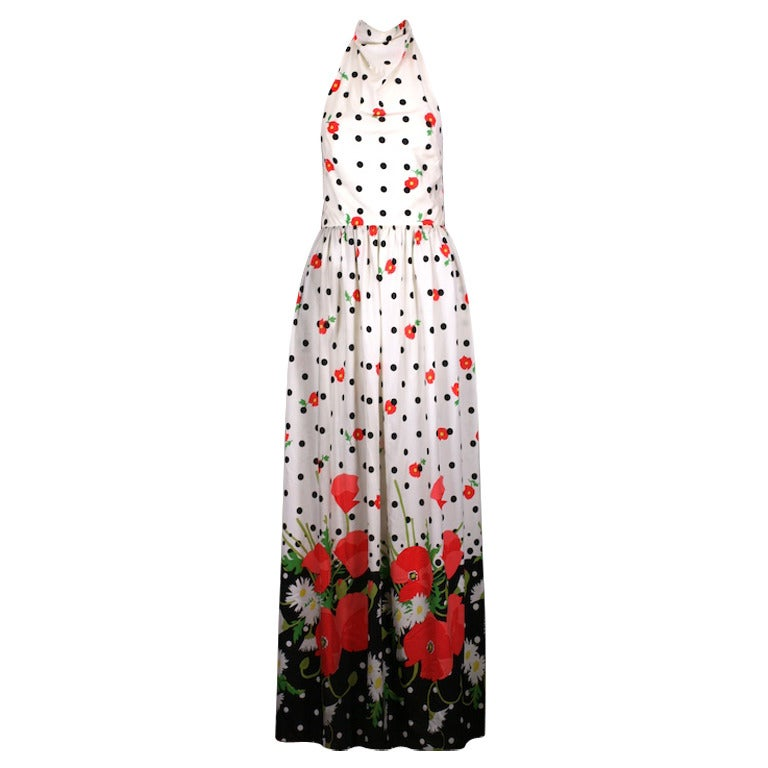 Oscar de la Renta Poppy Print Halter For Sale