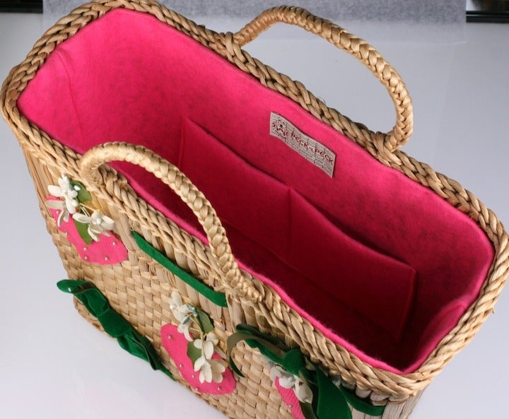 Brown Strawberry Decorated Straw Tote For Sale
