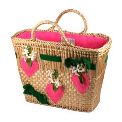 Strawberry Decorated Straw Tote