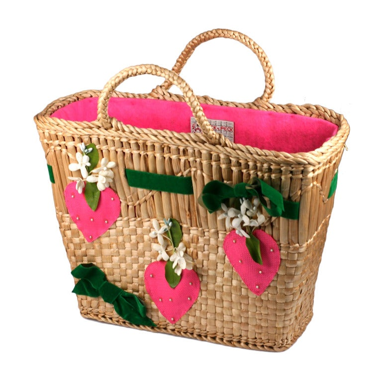 Strawberry Decorated Straw Tote For Sale