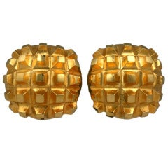 Georges Rech Quilted Gold Earclips