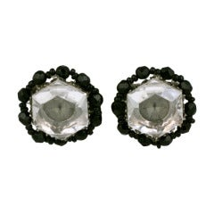 Miriam Haskell Crystal and Jet Beaded Earclips