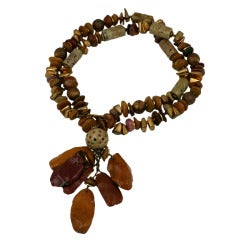 Miriam Haskell Agate and Gilt Bead Necklace