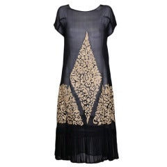 1920's Tambour Embroidered Chiffon Day Dress