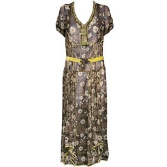 1920's Chiffon Lame and Velvet Dress