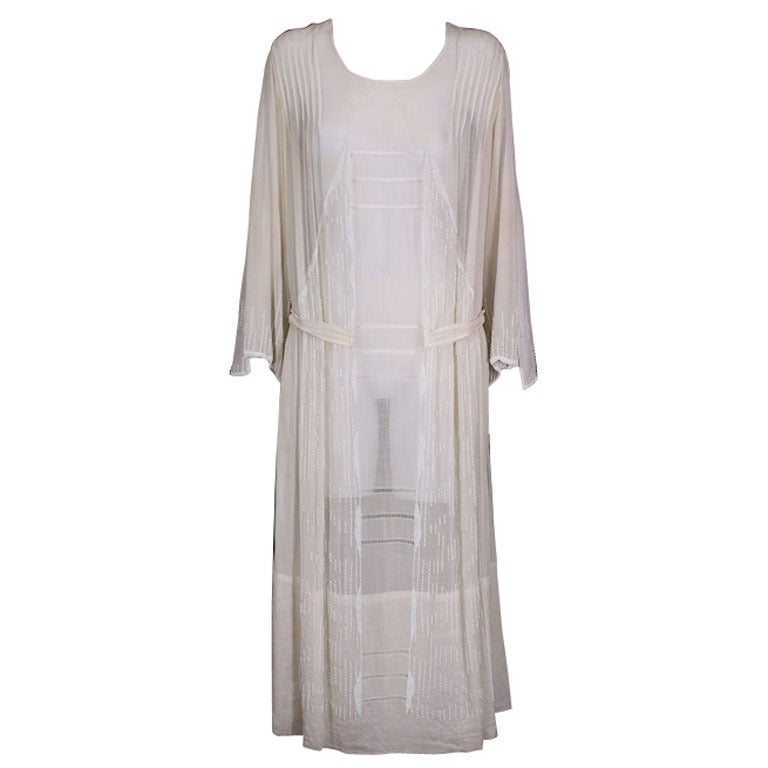 French 1920's Beaded Voile Afternoon Dress