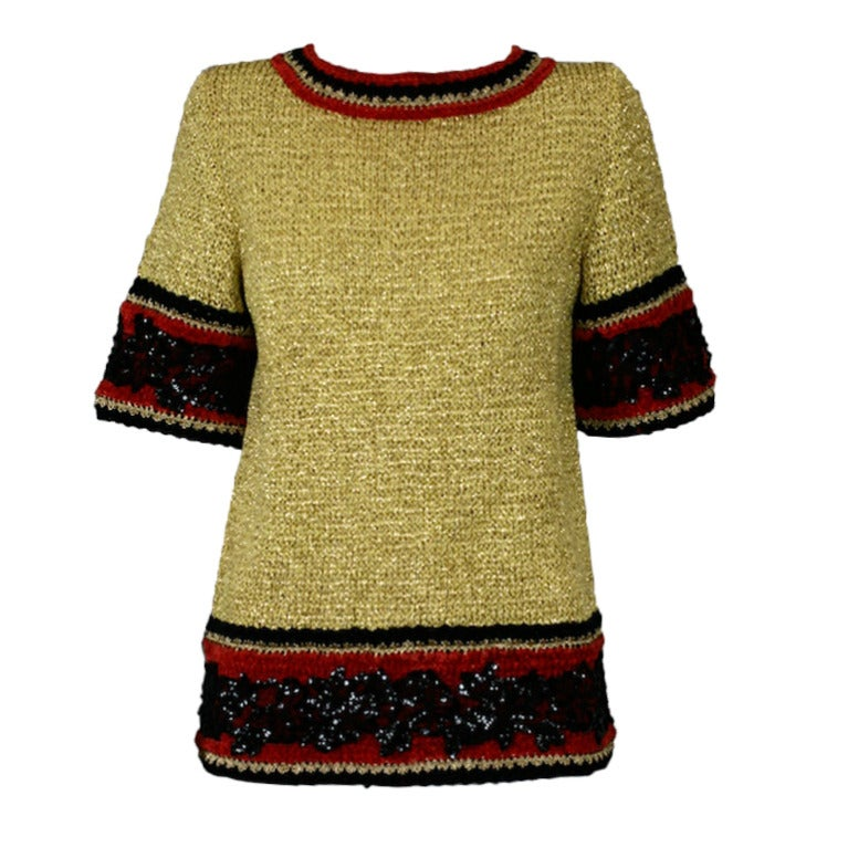 Christian Dior Gold Knit Sweater For Sale at 1stdibs