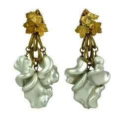 Rare Miriam Haskell Massive Ruffle Pearl Earclips