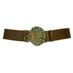 Turquoise Cabochon Shell Belt