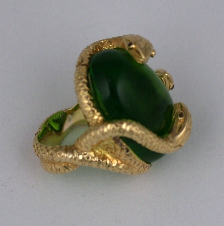 18K Snake and Pate de Verre Egg Ring 2