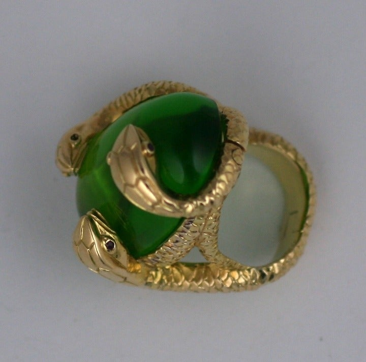 18K Snake and Pate de Verre Egg Ring 3