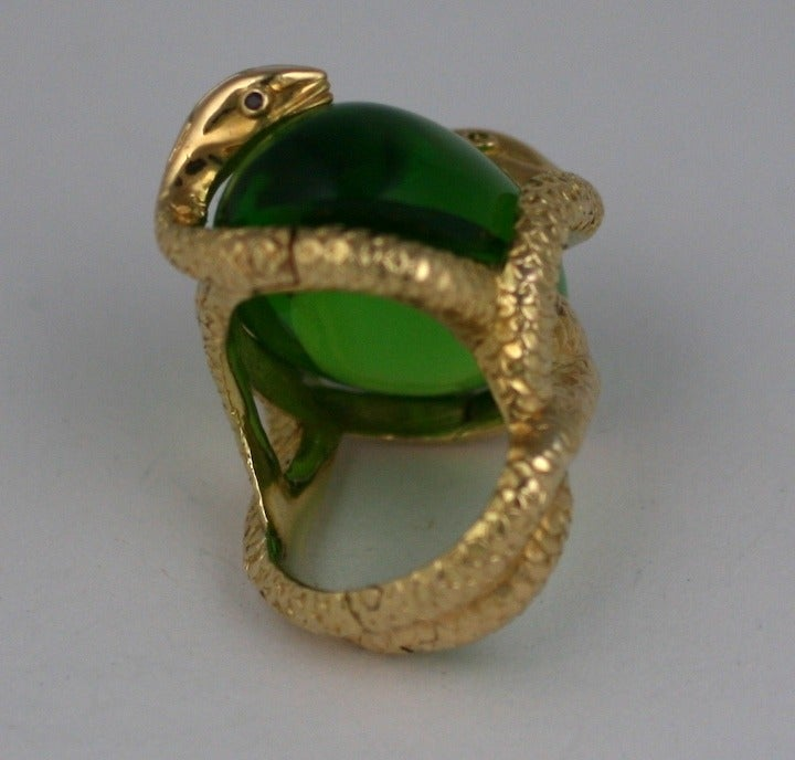 18K Snake and Pate de Verre Egg Ring 4