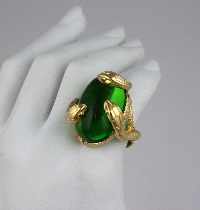 18K Snake and Pate de Verre Egg Ring 6