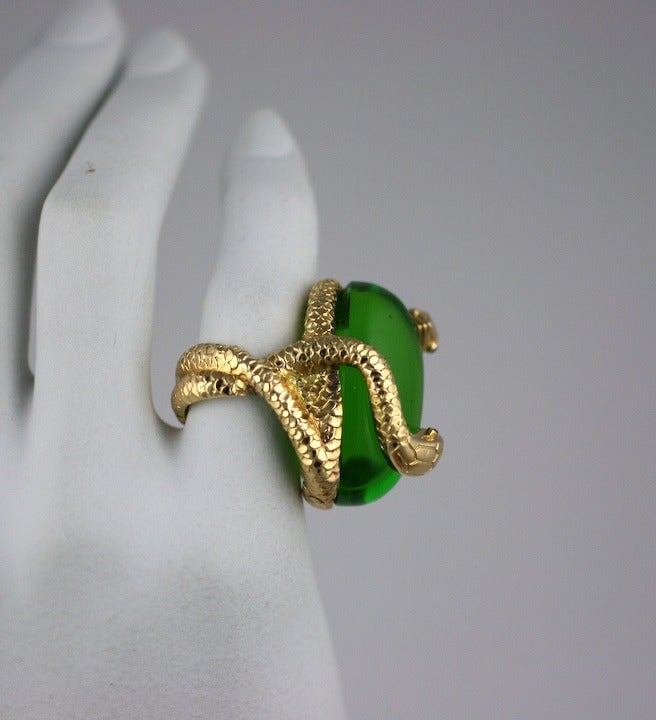 18K Snake and Pate de Verre Egg Ring 8