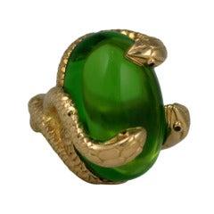 18K Snake and Pate de Verre Egg Ring
