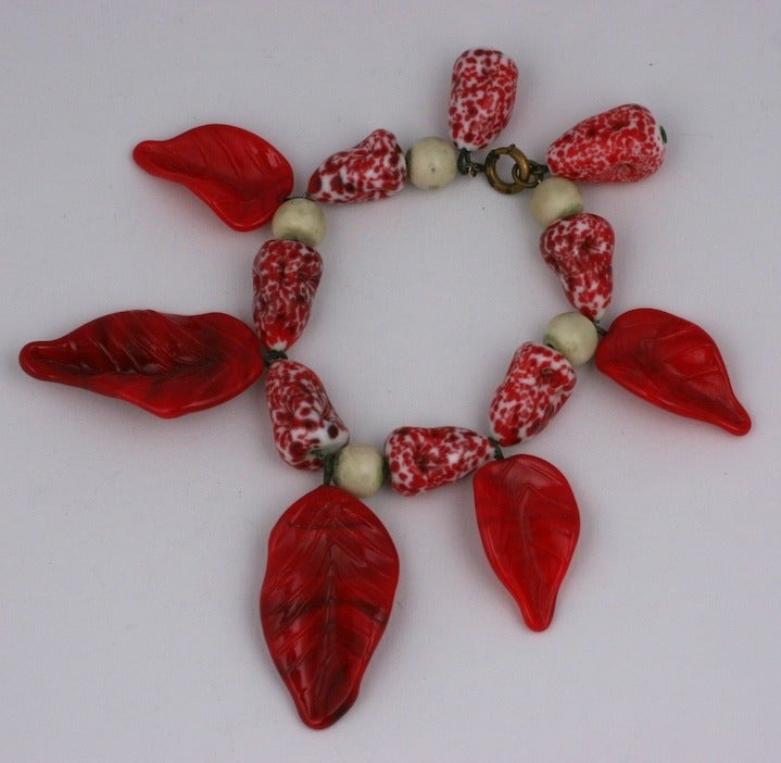 """French Pate de Verre Leaf Bracelet of red and white glass,an early example of Gripoix's oevre.  7.5"""" longest leaf 2"""""""