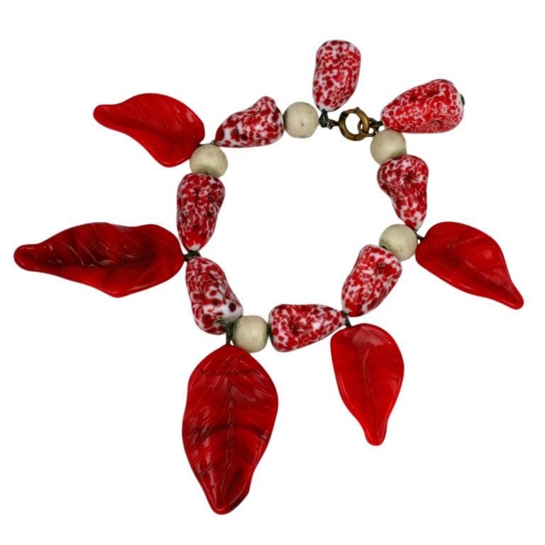 Rare Gripoix French  Pate de Verre Leaf Bracelet 1
