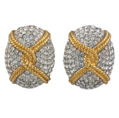 Large Ciner Pave Oval Earclips
