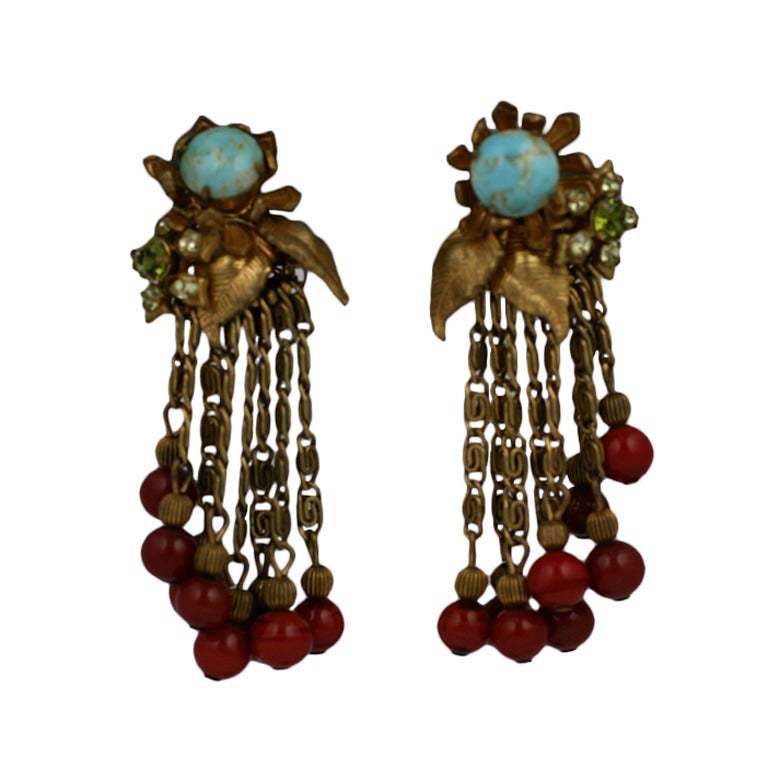 MIriam Haskell Turquoise Flower Cascade Earrings 1