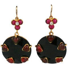 Ruby Poured Glass and Jet Earrings, MWLC