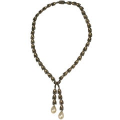 Art Deco Pearl and Crystal Paste  Link Necklace