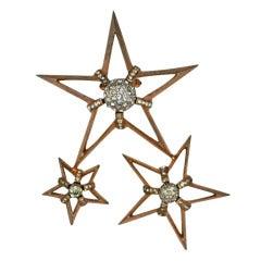 Nettie Rosenstien  Sterling Silver Star Clip Brooch