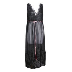 1920's Chiffon and Lace Dip Hem Gown