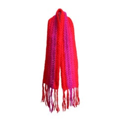 Schiaparelli Rare Handmade Shocking Pink and Tomato Red Muffler
