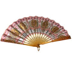 French Tortoise Pique and Sequin Silk Fan