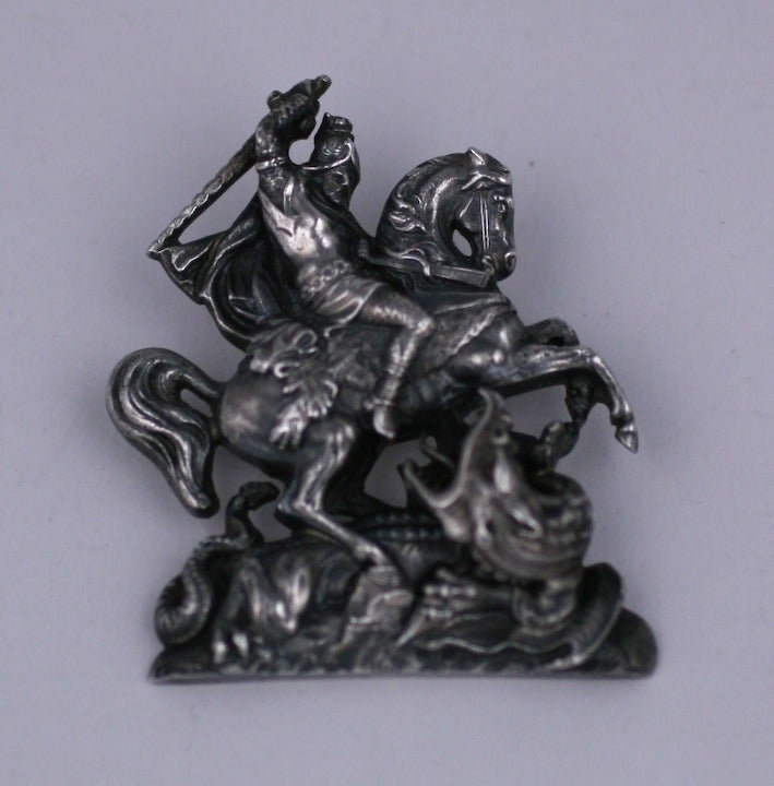 Victorian Brooch depicting St  George Slaying the Dagon