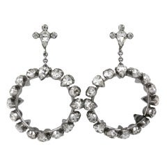Unusual Rhinestone Hoop Earrings